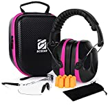 Shooting ear protection safety eamuffs, Gun range hearing protection, Shooting safety glasses, Ear plugs, carrying case
