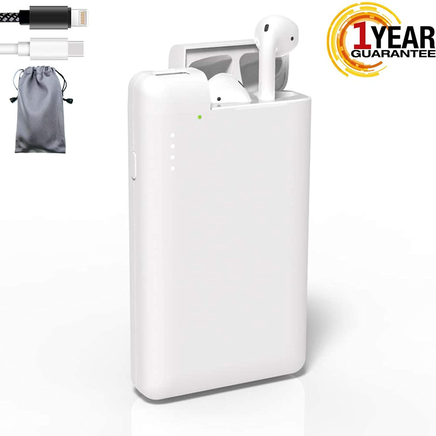Replacement Charging case Compatible for Airpods with 125 Times Charging, Airpod Charging case & Portable Power Bank Charger USB C,Large Capacity 10000 mAh with Free USB Lightning Cable + Storage Bag