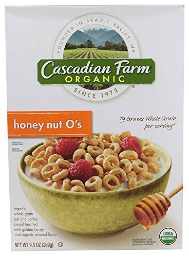 Cascadian Farm Cereal, 95% organic, Honey Nut O's , 9.5 oz (pack of 12 )