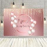 Fondos de fotografía Feliz cumpleaños decoración de Fiesta de cumpleaños Globos Rosados Brillo Brillante Bokeh Personalizar telón de Fondo Accesorios de fotófono Vinyl-250x180cm