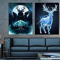 キャンバス絵画ハリーズポスター動物鹿鷲陶器映画プリントQuadro壁アート写真リビングルームの装飾21x30cmx2フレームレス