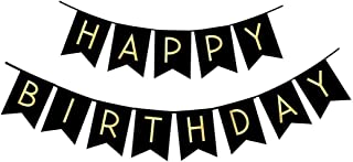 FECEDY Black Happy Birthday Bunting Banner with Shiny Gold Letters Party Supplies