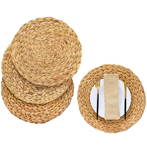 Artera Round Woven Placemats - Set of 4, 11.8 inches Natural Wicker Placemats, Water Hyacinth Straw Braided Placemats, Heat Resistant Non-Slip Weave Placemats Handmade