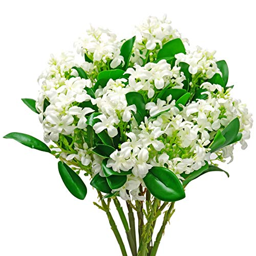LSME 2 Pcs Syringa Lilac Flower Artificial Bouquet White and Green Leaves for Home Party Table Centerpiece Vase Wedding Decoration