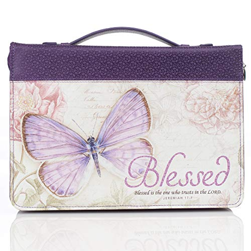 Purple Botanic Butterfly Blessings Fashion Bible Cover | Blessed Jeremiah 17:7 | Bible Case Book Cover, Medium