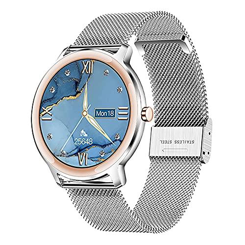 ZGZYL S06 Damenmode Smart Uhr Mit Blutdruck Und Blut Sauerstoff Herzfrequenzüberwachung Aktivität Tracker Bluetooth Smart Watch Pedometer wasserdichte Sportuhr,A