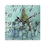 Jacque Dusk Reloj de Pared Moderno,Feliz Navidad Árbol Muñeco de Nieve Copo de Nieve Noche Santa,Gra...