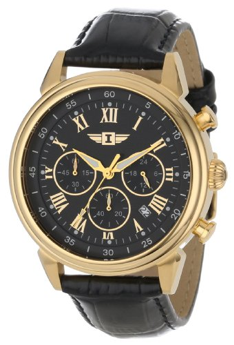 Invicta 18k Gold-Plated Men's Black Gold Watches for Men with Black Leather Strap