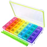 Motech Daily Pill Box 4 Times a Day Pill Organizer Monthly Pill Case Rainbow 7 Day 28 Cell Moisture...