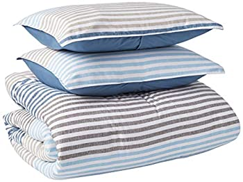 IZOD Chambray Stripe Super Soft Comforter Set with Machine Washable Premium Luxurious Hotel Quality Light Weight and All Season Queen