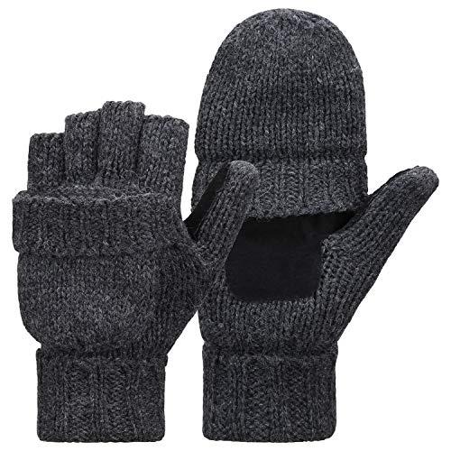 Bequemer Laden Winter warme Fingerlose Strickhandschuhe Wolle Cabrio Handschuhe Handschuh für Männer Frauen