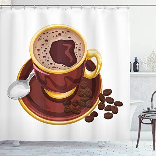 ABAKUHAUS Kaffee Duschvorhang, Cappuccino Löffel & Bohnen, Waserdichter Stoff mit 12 Haken Set Dekorativer Farbfest Bakterie Resistet, 175x180 cm, rotbraun Senf
