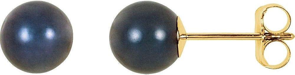 4mm Black Akoya Cultured Pearl Stud Earrings