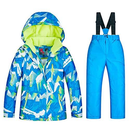 SHANGXIAN Extérieur Enfants Combinaison de Ski Hiver Chaud Imperméable Coupe-Vent Snowboard Ensembles de Veste et Pantalon de Ski,B,16(H:155Cm)