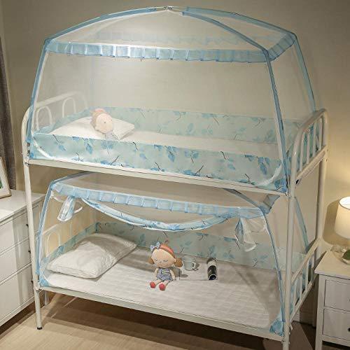 Jinzuo 1 Stuk 0.9M Muggennet voor Slaapzaal Studenten Stapelbed Kids Klein Bed Mongoolse Yurt Muggennet met Kant Decor Blauw