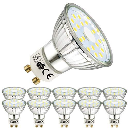 EACLL Bombillas LED GU10 6000K Blanco frio 5W 450 Lúmenes Equivalente 50W Halógena Lámpara. 120 ° Luz Diurna Blanca Fría Spotlight, 10 Pack