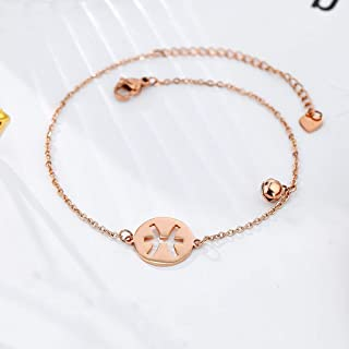 CXQ Personality Fashion Temperament Anklet Hollow Pisces Rose Gold Foot Ring Jewelry