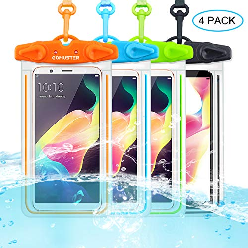 COMUSTER Universal Waterproof Case, 4 Pack IPX8 Underwater Clear Phone Pouch Dry Case Compatible with iPhone 11 Pro Xs Max XR X 8 8P Galaxy Pixel up to 6.5', Dry Bag for Beach Kayaking Travel or Bath