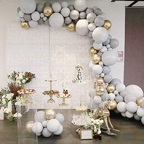 White and Grey Balloon Garland Arch Kit, 127pcs Party Decorations Balloon Set Supplies, Matte white & Gray & Chrome Metallic Gold Balloons for Wedding Birthday Bridal Engagement Baby Shower