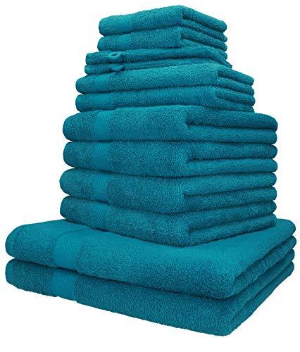 Betz Set da 12 Asciugamani Palermo 100% Cotone 2 Asciugamani da Doccia 4 Asciugamani 2 Asciugamani per Gli Ospiti 2 Lavette 2 Guanti da Bagno Colore Petrol
