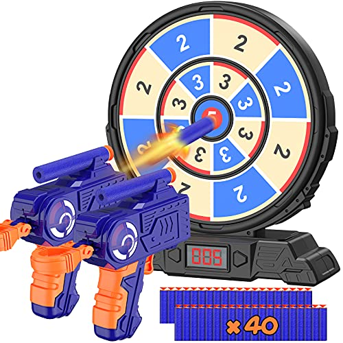 Digital Shooting Target with Foam Dart Toy Guns, Kiticute Shooting Game Toys with Sound Effects, Electric Scoring Nerf Target for Age of 5 6 7 8 9 10 11 Years Old Kids, Boys, Girls, for Nerf Guns Toys