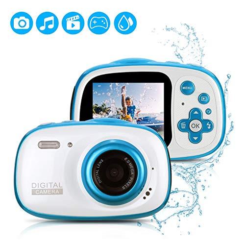 Fascol IP68 Impermeable Cámara Digital de 8MP para Niños ,1080P Videocámara con Zoom Digital 6X,Fotografía Inteligente,Marcos de Fotos Divertidos,Juego de Puzzle,Flash,32GB TF Tarjeta