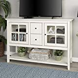 Walker Edison Furniture Company Rustic Farmhouse Wood Buffet Storage Cabinet Living Room, 52 Inch, White