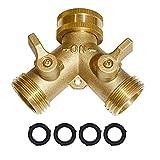 Garden Hose Y Valve Connectors Brass Hose Splitter with Solid Brass Handle Brass Y Valve Water Garden Hose Adapter 2 Way Y Valve 3/4' GHT Thread Extra 4 Presure washers (1)