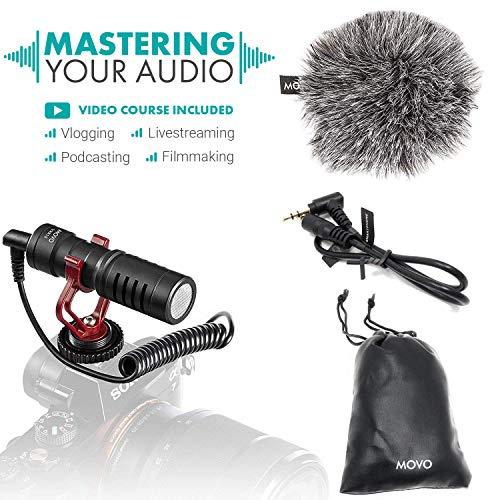Movo VXR10 microfono video universale con supporto antivibrazioni, antivento deadcat e custodia, per smartphone iPhone/Android, videocamere e fotocame
