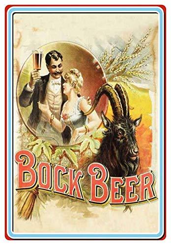 Metalen bord 20x30cm Bock Beer Bier reclame Bar Retro bord paar met bierglas