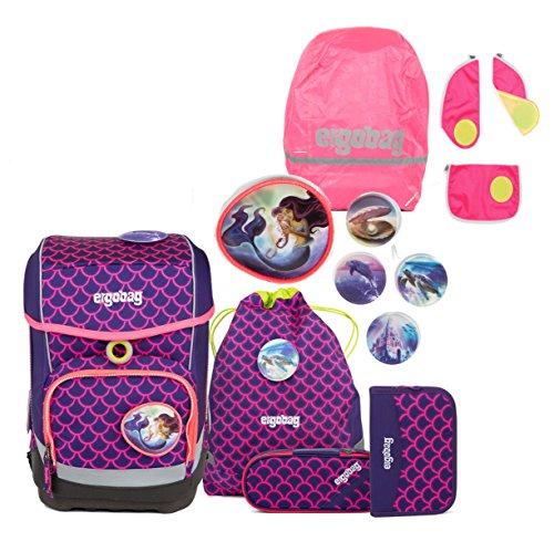 Unbekannt ergobag Cubo Schulranzen Set inkl. Regencape & Sicherheitsset PerlentauchBär + Shiny Pink + Pink