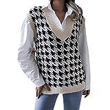ZENING Chaleco suéter pata de gallo retro suave cómodo para salir de tiempo libre tejiendo a través de S-L sin mangas