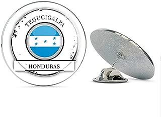 TG Graphics Tegucigalpa Honduras Flag Travel Stamp Art Round Metal Lapel Pins Cute Cool Hat Shirt Pin Tie Tack Pinback
