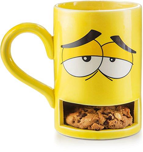 Donkey Products - Mug Monster - Keks Becher | Lustige gelbe Tasse mit praktischem Keksfach | Die witzigste Tasse in jedem Büro
