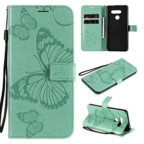 ViViKaya Handyhülle für LG K50S,Schlanke Leder Schmetterling Brieftasche hülle Flip Folio Handytasche für LG K50S [Grün]