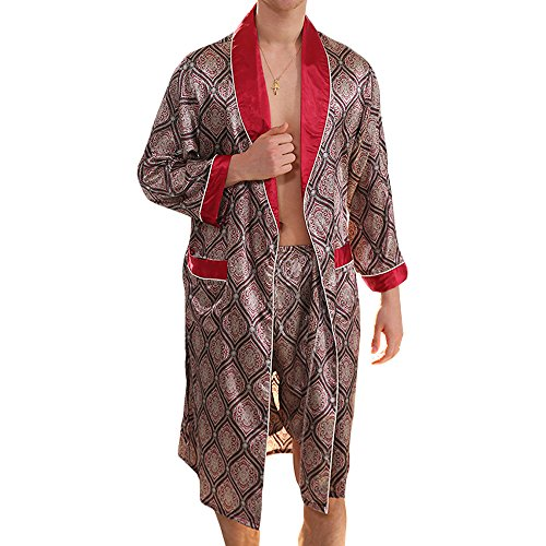 MAGE MALE Men's Summer Luxurious Kimono Soft Satin Robe with Shorts Nightgown Long-Sleeve Pajamas Printed Bathrobes Red