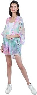 Marigold Women Floral Print Rainbow Color Sheer Kimono Dress