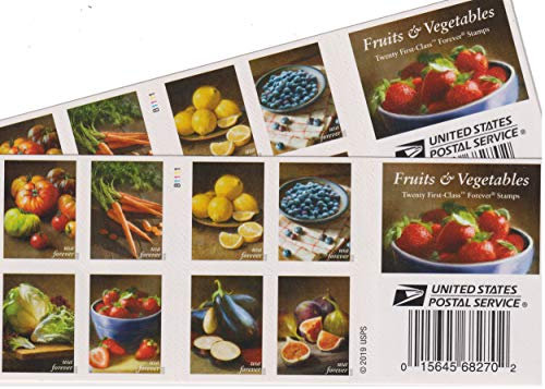 Fruit and Vegetables Postage Stamps Booklet of 20