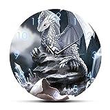 JXWH Bebé recién Nacido dragón de Hielo Huevo para incubar Arte de Pared Moderno Reloj de Pared dragón Blanco Huevo para incubar Colgando silencioso Reloj de Pared sin tictac