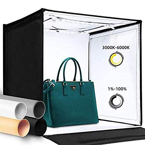 Amzdeal Photo Studio Light Box 16' x 16' Photography Light Box Kit Adjustable Color Temperature&Brightness Photo Background Shooting Tents with 4 Colored Backdrops