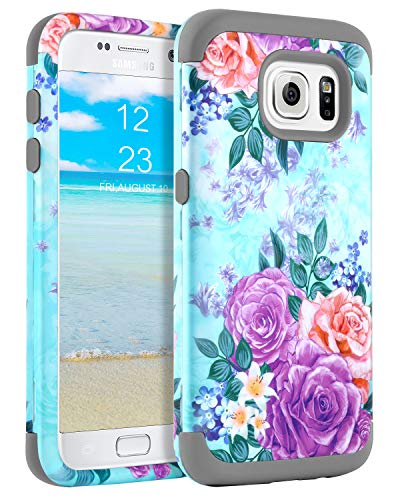 GUAGUA Galaxy S6 Case Samsung S6 Case Flowers Floral Girls Women Peony Three Layer Hybrid Hard PC Cover Soft Silicone Anti-Scratch Shockproof Full Protective for Samsung Galaxy S6(G920), Mint Green
