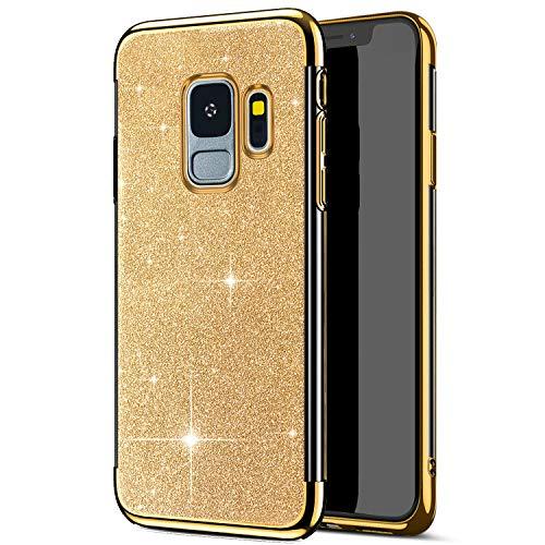 MoreChioce kompatibel mit Samsung Galaxy S9 Hülle,Galaxy S9 Handyhülle,Transparent Glitzer Paillette Strass TPU Flexible Silikon Schutzhülle mit Glitzer Stück Defender Bumper,Gold