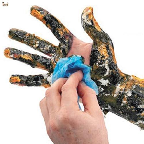 BricoLoco Toallitas limpiadoras industriales doble cara. Limpiamanos taller mecánico. Limpia grasas, pintura, adhesivo, silicona, aceite… en piel y superficies. (1, Bote 40 toallitas)