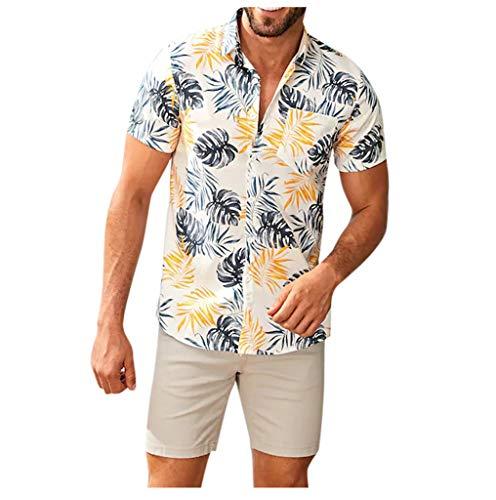 Briskorry Hawaiihemd für Herren Ethnisch Hawaiian Hemd Shirt Kurzarm Lose Freizeithemd mit Brusttasche Knopfleiste Revers Casual Bluse