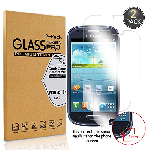 [2 Pack] Owbb® Pellicola Vetro Temperato Per Samsung Galaxy S3 Mini , Glass Screen Pellicola Protettiva 9H Durezza 99% Alta trasparente 0.26mm 3D Touch Compatibile Per Samsung Galaxy S3 Mini