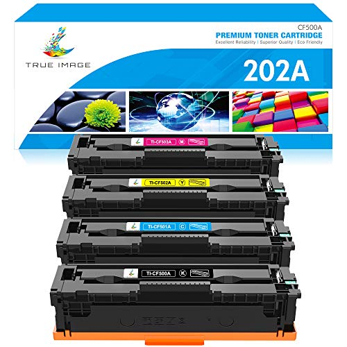 True Image Compatible Toner Cartridge Replacement for HP 202A CF500A M281 HP Laserjet Pro MFP M281fdw M281cdw M254dw M254nw M281fdn M254 CF501A CF502A CF503A Ink (Black Cyan Yellow Magenta, 4-Pack)