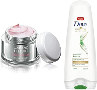 Lakmé Perfect Radiance Fairness Day Creme 50 g & Dove Hair Fall Rescue Conditioner, 180ml