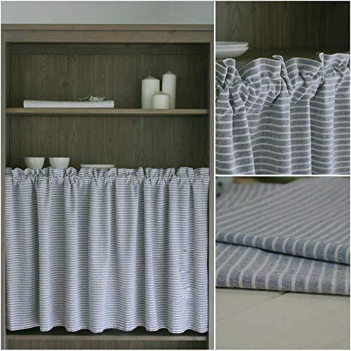 ZQKJLH 1pcs-Grau Modern Gitter Kurzer Vorhang Fenster Curtain,Kleiner Vorhang,Baumwolle und leinen kurzvorhang dust/café,küche,Schlafzimmer,schranktür,tür,waschbecken schiene,halbe vorhänge