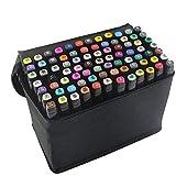 80 Farbige Marker Set, Graffiti Pens, Marker Stift Set Doppelspitze Textmarker, für Studenten Manga Kunstler Sketch Marker Stifte Set (schwarz)