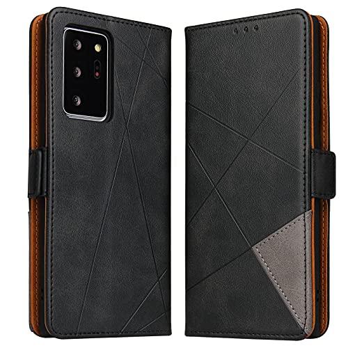 BININIBI Handyhülle für Samsung Note 20 Ultra Hülle, Galaxy Note 20 Ultra Lederhülle Handytasche Klapphülle Tasche Leder Schutzhülle für Samsung Galalxy Note 20 Ultra (Schwarz)